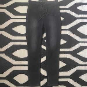 Free People High Waist Skinny Black Lace Up Jeans